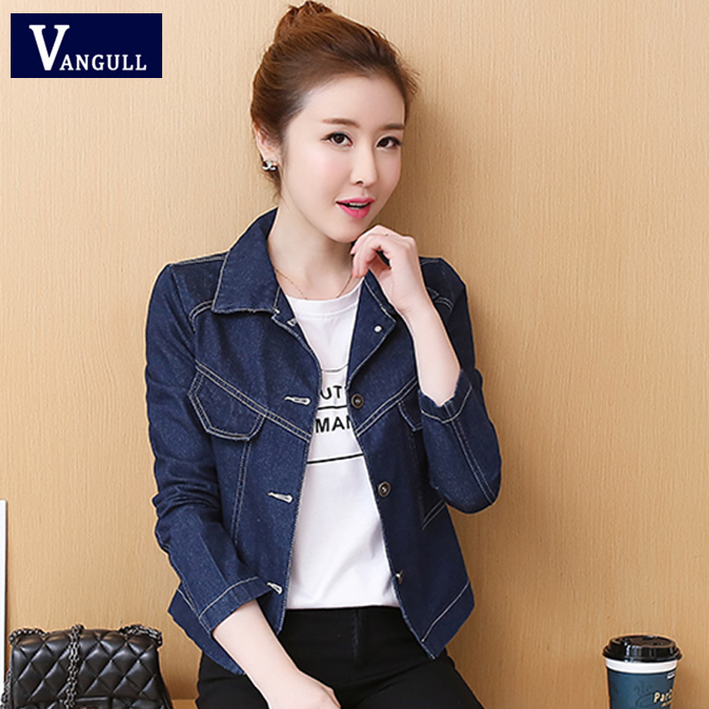 Vangull Spring & Summer Casual Women's Clothing Solid Slim Shorts Denim Basic Jackets Long Sleeve Single Breasted Jean Outerwear
