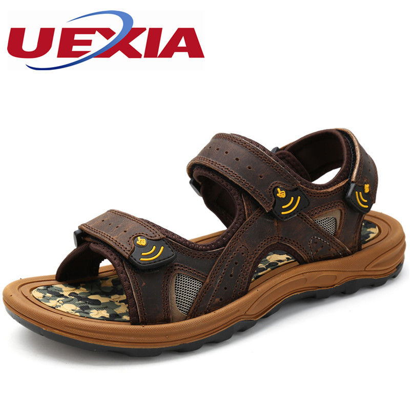 Mens Sandals Outdoor Leather Zapatos Summer Cool Light Weight Beach Casual Shoes Comfortable Handmade Stitching High Quality