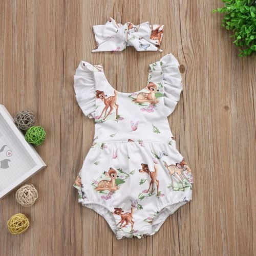 Newborn Baby Girls Deer Ruffles Romper Jumpsuit