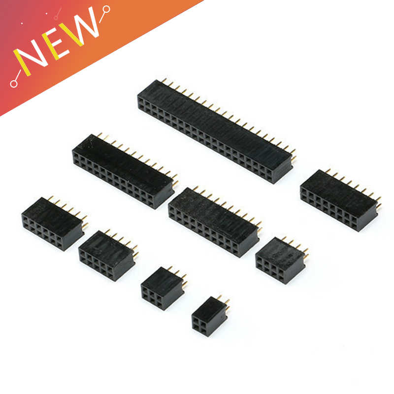 10Pcs 2.54mm 2x2/3/4/5/6/8/10/ 12/16/40 Pin Stright Vrouwelijke Dubbele Rij Pin Header Strip PCB Connector