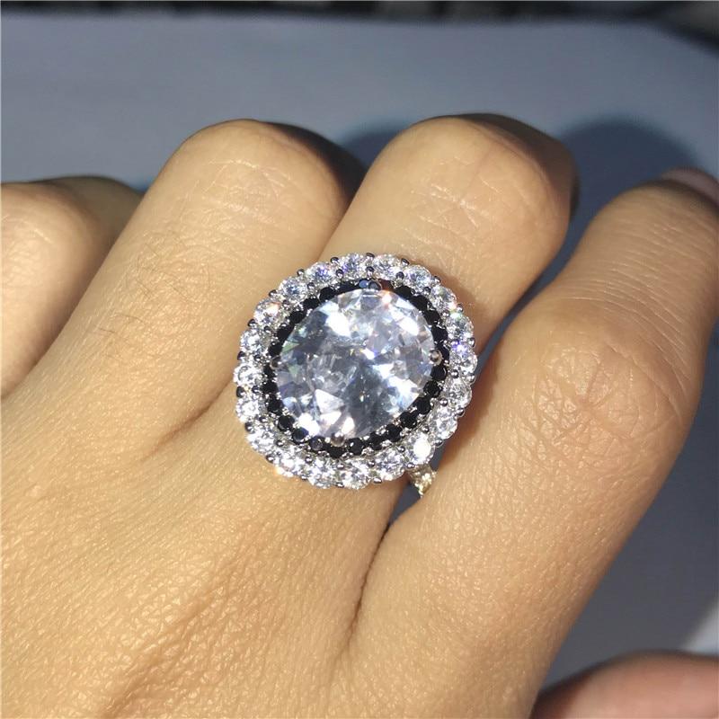 DYINGLUO 925 argent Sterling taille ovale cubique zircone noir Halo anneau de mariage promesse anneau cadeau argent bague de fiançailles pour les femmes - 6