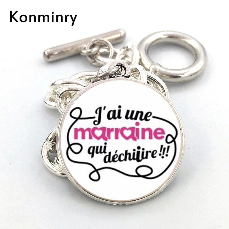 US $1 19 40% OFF|Fashion Super Marraine Round Glass Pendant Bracelets  Classic French Word Picture Design Bangles For Women Men Konminry  Jewelry-in