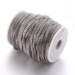 304 Edelstahl Twist Ketten, für männer Kette Halskette, Der, 304 Edelstahl Farbe, 5x4x1mm; 6x4x1,2mm, 50 m/roll