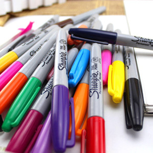 Image 5 - 24Pcs/set Sharpie Oil Marker Pens Colored Markers Art Pen Permanent Colour Marker Pen Office Stationery 1mm Nib