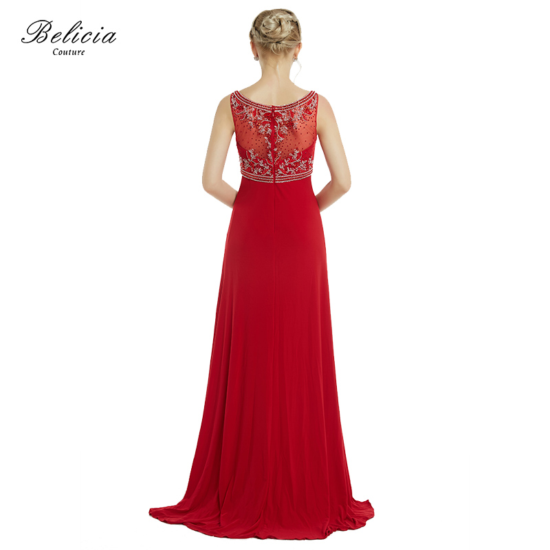 Belicia Couture Red Evening Dresses Beading V Neck Empire Waist Line Formal  Long Prom Dresses Floor Length Wedding Party Dress-in Evening Dresses from  ... 43b1683f8404