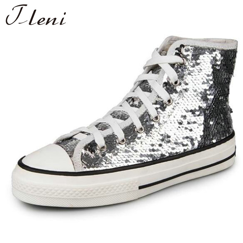 Tleni 2018 New High Top White Women Flats running Shoes Ladies Canvas Shoes lace-up Bling Bling sneaker shoes ZK-20 3