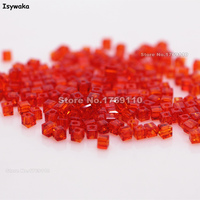 Isywaka 1980pcs Cube 2mm Red Color Square Austria Crystal Bead Glass Beads Loose Spacer Bead For