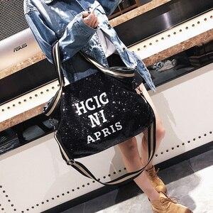 Image 2 - スパンコール女性のバッグ印刷文字女性大容量トップハンドルバッグ女性のハンドバッグ国家カジュアルトートガールメッセンジャーバッグ