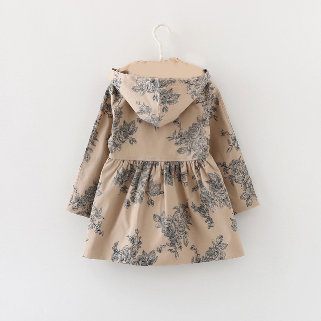 Trench impermeable con capucha flores 1