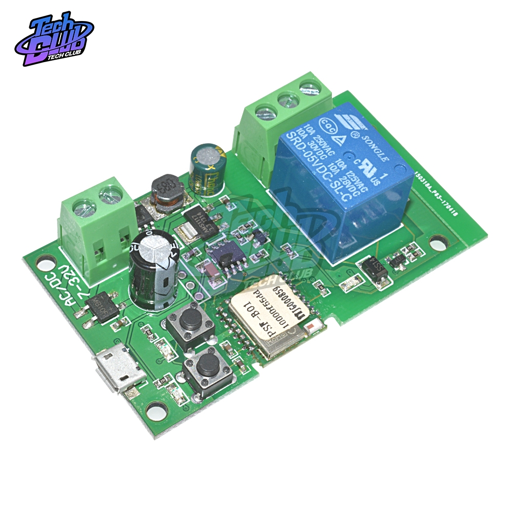 DC 5V-32V Smart Wifi Relay Module Self-locking Wireless Remote App Control Switch Time Delay Relay Switch Micro USB for Mobile