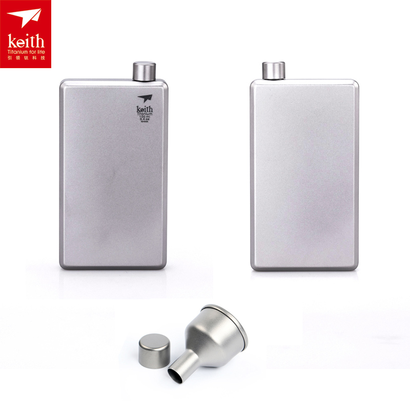 Keith 120ml Titanium Mini Flask Outdoor Camping Square Hip Flask with Funnel Wearproof Sport Bottle Drinking Wine Pot 8oz hip flask with folding cup