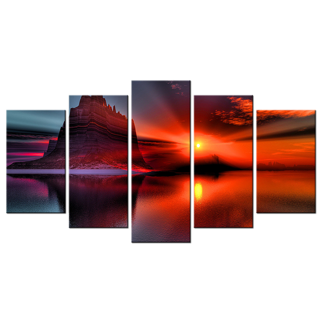 5Pcs Home Decor Painting Beautiful Sunset Mountain Canvas Wall Art Ocean Beach HD Prints Contemporary Landscape