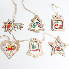 Cute Christmas Tree Wooden Hanging Pendants Snowflake Star Bell Ornaments Xmas Party Home Decor Supplies For D1