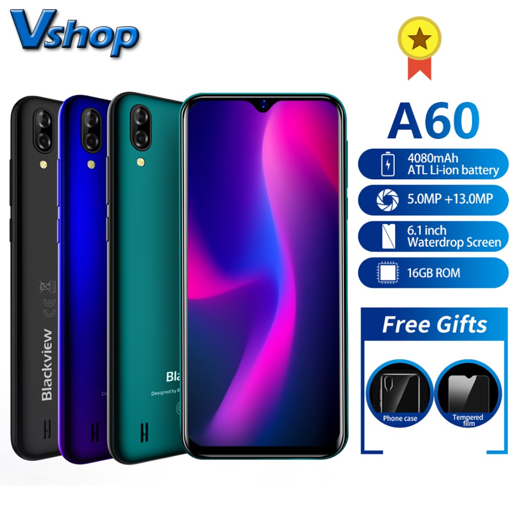 Blackview A60 Smartphone Quad Core Android 8 1 4080mAh Cellphone 1GB 16GB 6 1 inch 19
