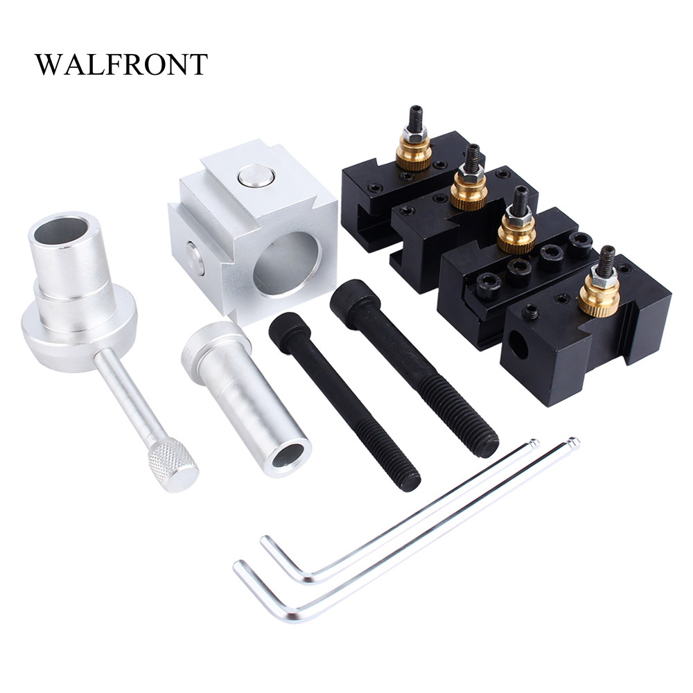 WALFRONT Mini CNC Lathe Tool Holder Quick Change Tool Post Cutter Holder Screw Kit Set Boring Bar Turning Facing Holder Wrench-in Tool Holder from Tools