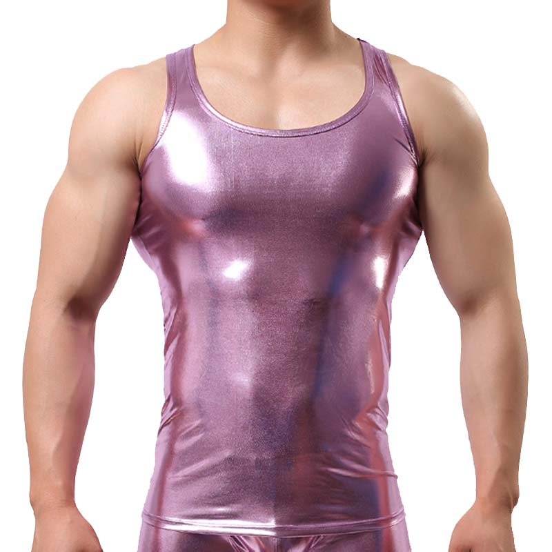Fashion Brand Star Faux Leather Men Sexy Fitness Tank Top/Sleeveless Mens Bodybuilding Stringers Vest