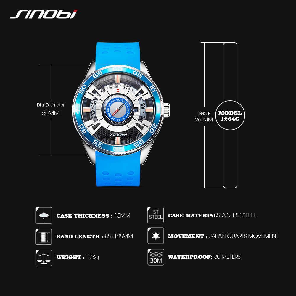 2019 sinobi velocidade do painel carro novo relógio criativo masculino marca de luxo silicone banda 100% aço inoxidável relógio de pulso