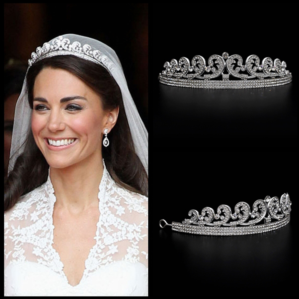 Kate & William Royal Rhinestone Crystal Wedding Hair Crown Tiara hair jewelry crown wedding crystal hair accessories hair bands girl crown crystal barrettes hair accessories shiny rhinestone crystal crown bridal wedding tiara flower child hair ornament