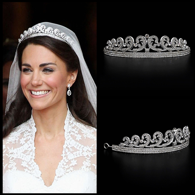 Kate e William Royal Rhinestone di Cristallo di Cerimonia Nuziale Dei Capelli Crown tiara capelli crown wedding accessori per capelli di cristallo fasce per capelli