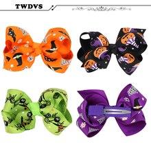 TWDVS Halloween Style Newborn Bow Knot Hair Clip Pumpkin Head Hair Band Kids Headband Elasticity Accessories