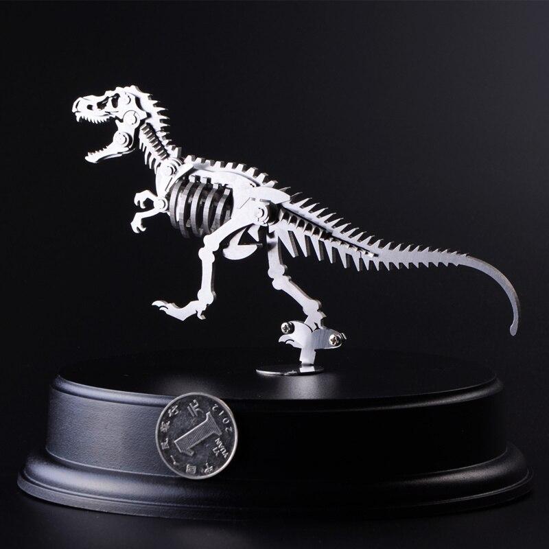 Galleria fotografica Tyrannosaurus <font><b>Rex</b></font> 3D Acciaio Mobilità Articolare del Metallo DIY Modello In Miniatura Kit Puzzle Giocattoli Educativi Ragazzo Splicing Hobby Building