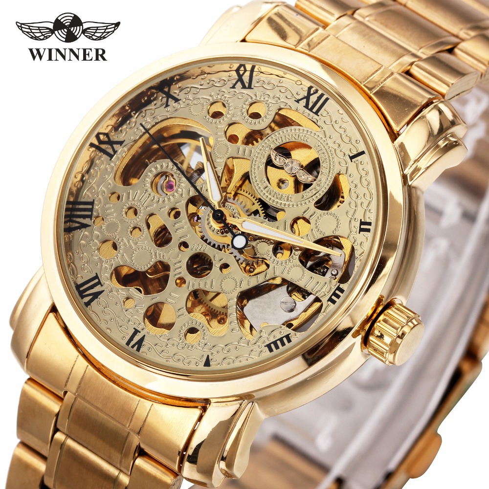 WINNER Luxury Unisex Couples Auto Mechanical Watch Stainless Steel Strap Roman Number Skeleton Dial Design Lovers Gift + BOX