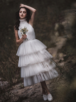 Tea length Elegant Wedding Gowns Bridal Dress Backless Layers Cake Tulle Reception Wedding Dresses 2019