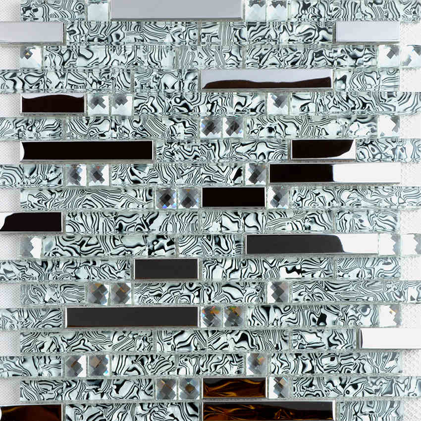 New stainless steel metal crystal glass mosaic tile waistline mirror background wallpaper shower kitchen backsplash decoration rose gold stainless steel metal mosaic glass tile kitchen backsplash bathroom background decorative art mosaic wall tile sa073 9