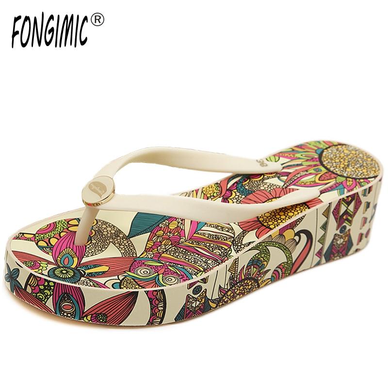 a4f9cd68fffd8f Online Shop Fashion summer Korea women Print Wedges thick bottom flip flops  ladies high heel no-slip sandals beach comfortable slipper