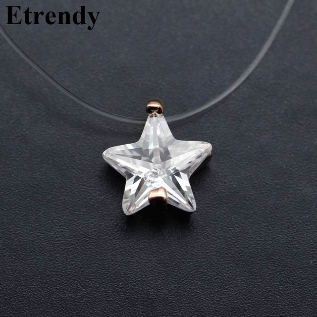 Invisible Transparent Zircon Choker Necklace Women Fashion Jewelry 2019 Cute Gift Star Triangle Water Drop Design Summer Holiday