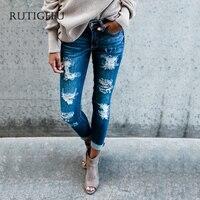 2018 nieuwe mode broek jeans voeten broek vrouwen gat boyfriend jeans 100% selling index lente gepersonaliseerde jeans Slanke broek