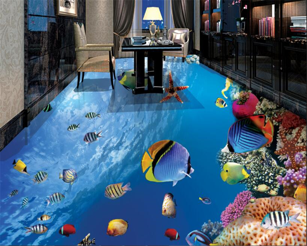 beibehang 3d wallpaper Custom high-end fashion wallpaper personalized fish underwater world stereo bathroom 3d flooring tapety beibehang custom high level wallpaper 3d