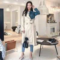 LANMREM 2019 New Fashion Spring Double Breasted Patchwork Denim Turn-down Collar Full Sleeve Casual Women Windbreaker YE53712