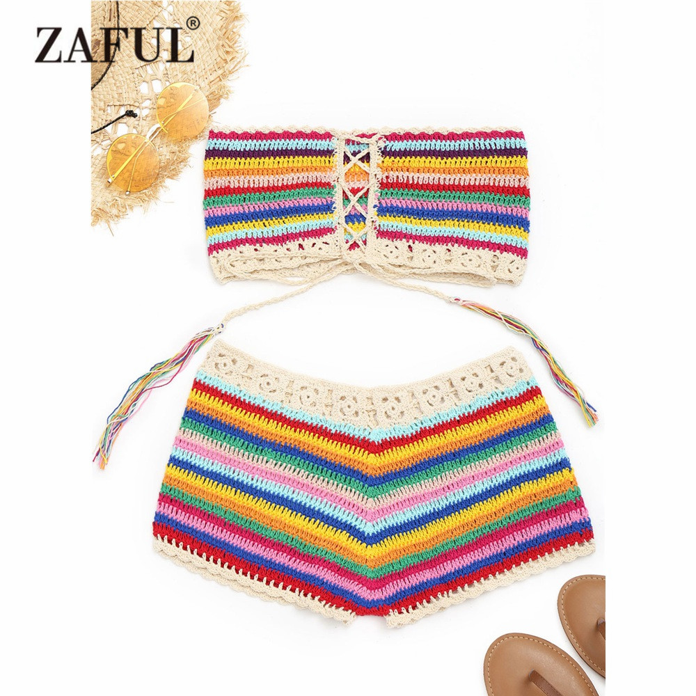 ZAFUL New Colorful Strapless Crochet Top and Cover-up Shorts Women Summer Beach Lace Up Striped Colorful Cover Ups for Women zaful 2018 new women cover ups striped ruffled backless halter dress high waist beach sexy ankle length green stripped cover up