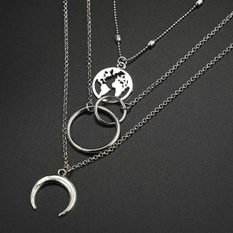 Tocona boêmio lua mapa círculo pingente colares multi camada prata cor liga gargantilhas colar para jóias femininas 6941