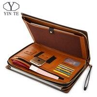 YINTE папка для бизнес файлов кожаный чехол Ipad/Бумага папки для документов кожаная сумка файл хранения Роскошные Бизнес дизайн держатель T5482