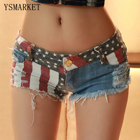 2017 American Flag USA Stampa Donne Sexy Jeans Shorts In Denim estate Sexy Club Button Pantaloni Corti Pantaloni Skinny Nappa Breve S1388