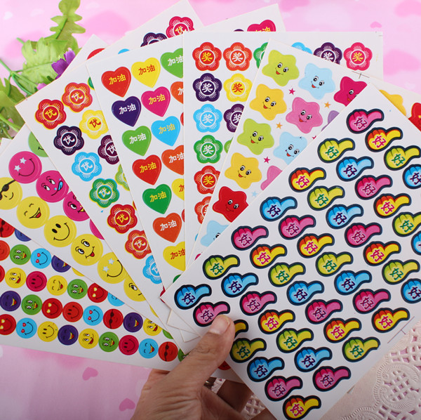 10 sheets Cute Cartoon Stationery Kindergarten Prize Award Sticky Paper Smiling Face Five Stars Apple Sticker Chidren Kids Gift