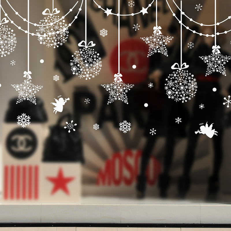 Christmas window decorative sticker creative hang adorn for Stickers muraux