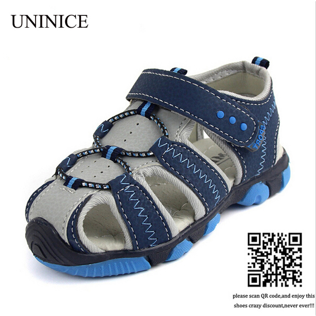 df423fa26 New Style 2018 Boys Antislip Sole Sandals Summer Cut-Out Comfortable Flats Leather  Sandals Kids Children Breathable Beach Shoes