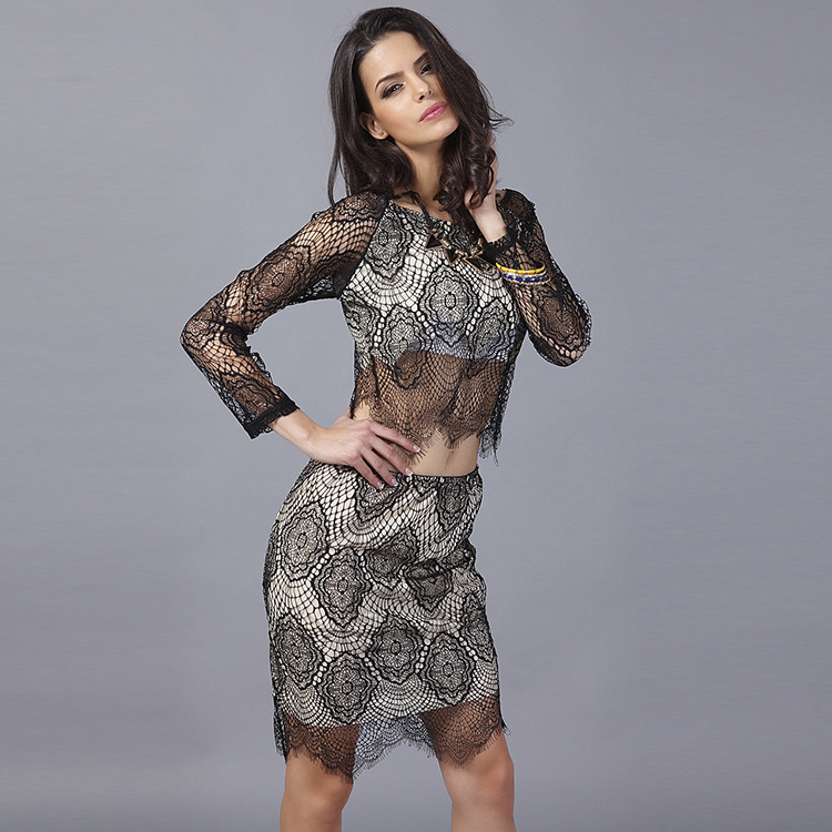 European and American Fashion New Long-sleeved Black White Lace Two-piece Skirt