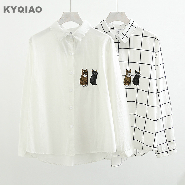 Women's Clothing Discreet Kyqiao Lolita Shirt Mori Girls Autumn Winter Japanese Style Fresh Long Sleeve Turn-down Collar White Plaid Cat Embroidery Blouse Vivid And Great In Style