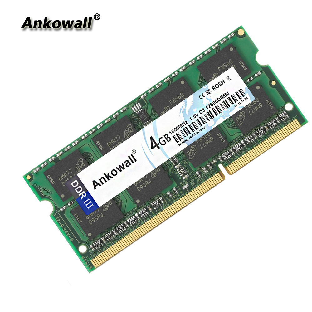 Ankowall DDR3 SO-DIMM 2G 4GB 8GB RAM 1333/1600 MHz 1.5V 204Pin ordinateur portable mémoire PC3-10600/12800 ordinateur portable RAM