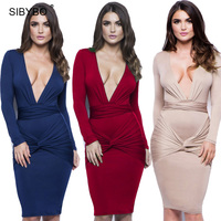 4 Color Women Summer Dress 2016 Deep V Neck Pleated Bodycon Bandage Dress Long Sleeve Mid