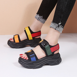 Lucyever 2019 New Fashion Women Platform Sandals Ladies Casual Peep-toe Wedges Shoes Woman Sandalias Mujer Black White 2
