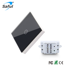 1 Way Long Distance Remote Control Light Switch,Black Crystal Glass Panel