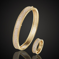 Zlxgirl Luxury Women's Copper Bangle Ring Anniversary Jewelry Sets Perfect Full Round Cubic zircon gold Bangle Finger Ring sets