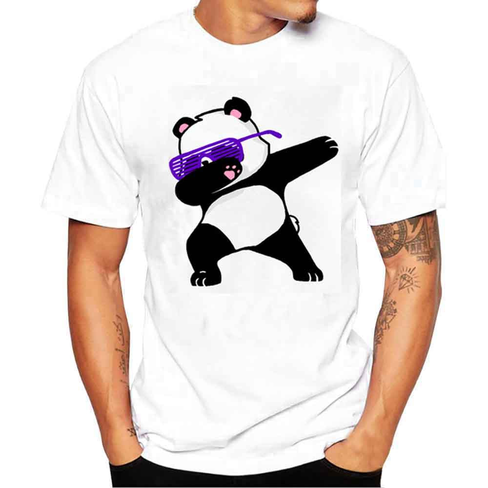 Feitong  Newest 2019 Men Printing Tees Shirt Short Sleeve T Shirt Blouse  Panda Printed O-Neck Summer Top Fashion Oversize