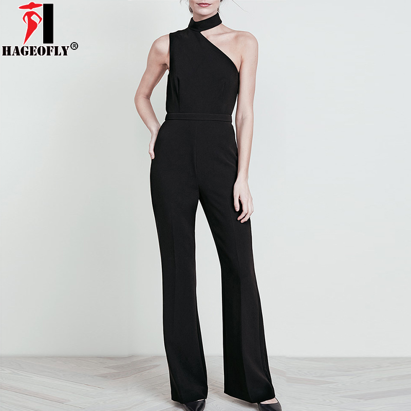 HAGEOFLY 2018 Black Women Jumpsuits Sexy One-Shoulder Full Length Office Lady Bodycon Boot Cut Bodysuits Fashion Jumpsuit Female