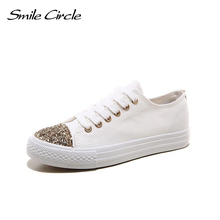 Smile Circle 2017 Spring/Autumn New style shoes women fashion Sequins canvas shoes for women casual platform shoes